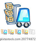 Forklift moving objects Illustration.  Car Mascot 20774872