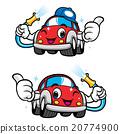 Car Self Wash Character Design. Vector Car Mascot  20774900