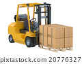 Forklift truck with boxes on pallet 20776327