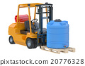 Forklift truck with water tank on pallet 20776328