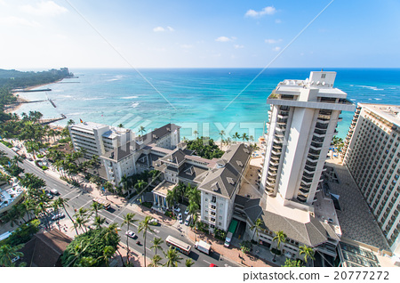 Hawaii Waikiki Beach And Hotel Street Stock Photo
