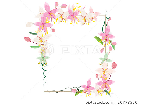 Wreath Pink Flower For Frame Or Border Stock