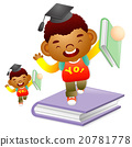 Boy standing on a large book. Education life 20781778