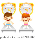Boy and girl is weigh oneself. Education life 20781802