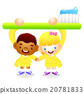 Boy and girl is holding a big toothbrush. 20781833