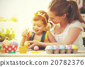happy family mother and child girl paints eggs for Easter 20782376