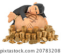 3D Tuxedo rich man hugging his money 20783208