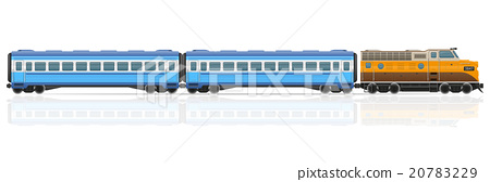 railway train with locomotive and wagons vector 20783229