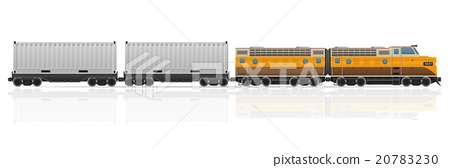 railway train with locomotive and wagons vector 20783230