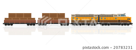 railway train with locomotive and wagons vector 20783231