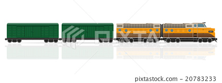 railway train with locomotive and wagons vector 20783233