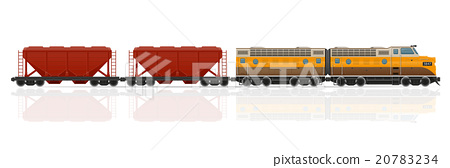 railway train with locomotive and wagons vector 20783234