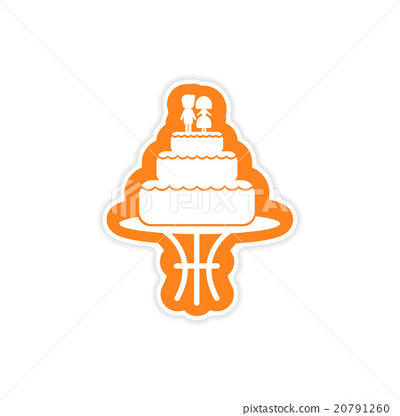 paper sticker on white background wedding cake 20791260