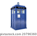 Blue police box isolated on white background 20796360