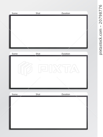 Film Storyboard Template Vertical X3 - Stock Illustration