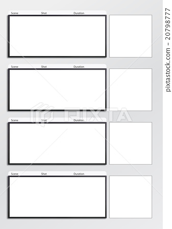 Film Storyboard Template Vertical X4 - Stock Illustration