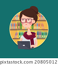 College Girl Student Studying in Library 20805012