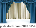 Open blue theater curtain, lit by a spotlight 20812854