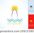 Set of vector surfing emblems with uneven line 20815380
