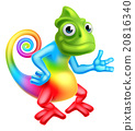 Cartoon Rainbow Chameleon 20816340