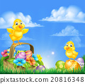 Chicks and Easter Eggs Basket Scene 20816348