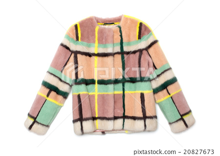 Pink with stripes fur coat 20827673