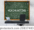 Headhunting on Chalkboard with Doodle Icons. 20837483