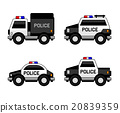 Police Car Set. Classic Black and White Colors 20839359