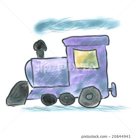 lilac watercolor cartoon train isolated 20844941