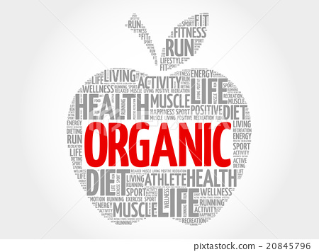 Organic apple word cloud 20845796