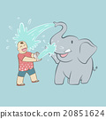 Baby elephant and tourist 20851624