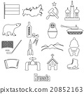 Russia country theme outline symbols icons set  20852163
