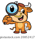 Bull Character examine a with a magnifying glass 20852417