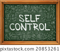 Self Control Concept. Green Chalkboard with Doodle 20853261