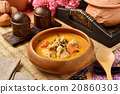 Chicken curry in wooden bowl  20860303