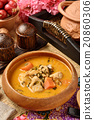 Chicken curry in wooden bowl  20860306