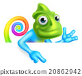 Rainbow Cartoon Chameleon Pointing 20862942