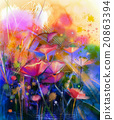 Abstract flower watercolor painting 20863394