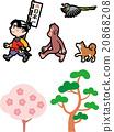 Momotaro猴子狗野鸡一个老传说的背景材料例证 20868208