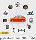 Auto parts maintenance icons. Vector illustration. 20868566