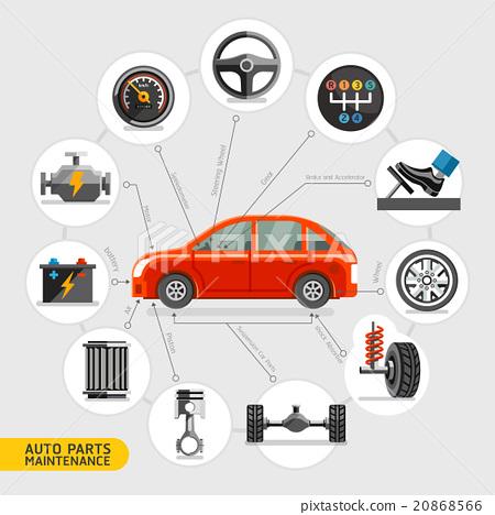 Auto parts maintenance icons. Vector illustration. 20868566
