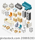 Furniture Isometric icons. Vector Illustration. 20869283