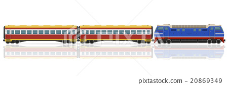 railway train with locomotive and wagons vector 20869349