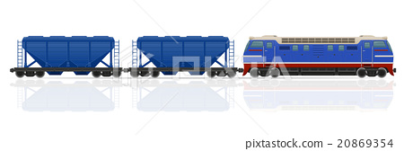 railway train with locomotive and wagons vector 20869354