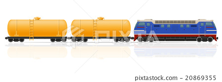 railway train with locomotive and wagons vector 20869355