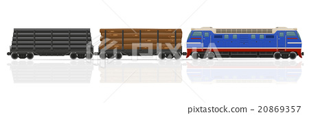 railway train with locomotive and wagons vector 20869357