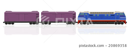 railway train with locomotive and wagons vector 20869358