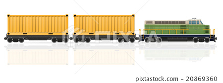 railway train with locomotive and wagons vector 20869360