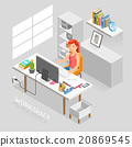 Work Space Isometric Flat Style. 20869545