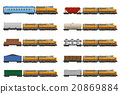 set icons railway train with locomotive and wagons 20869884